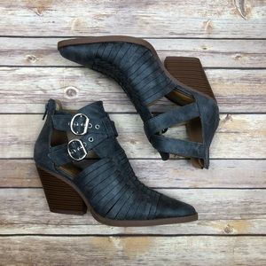 Qupid | Pointed Toe Woven Booties